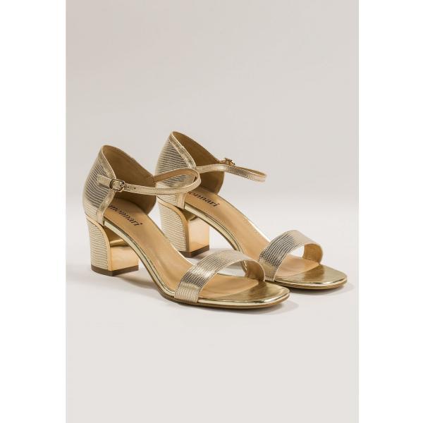 Złote sandały na słupku SOTTANO Sandały damskie skórzane