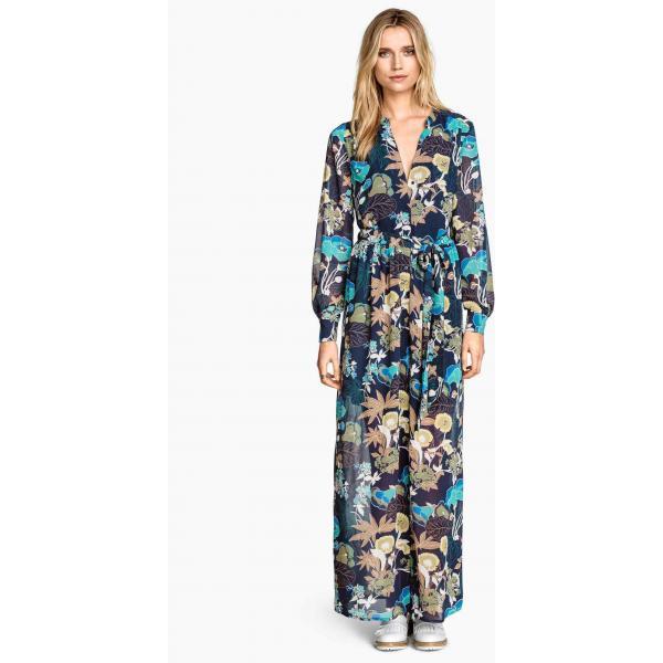 H&M Długa suknia z szyfonu 0271483002 CiemnoniebieskiKwiaty