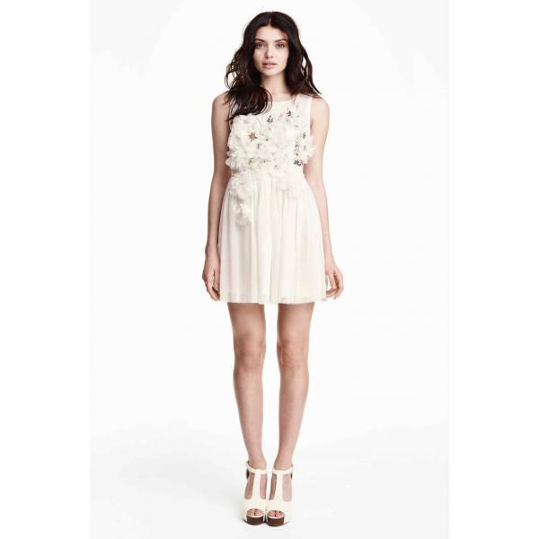 7e840fd836 H M Tiulowa sukienka z koralikami 0291325001 Biały - UbierzmySie.pl