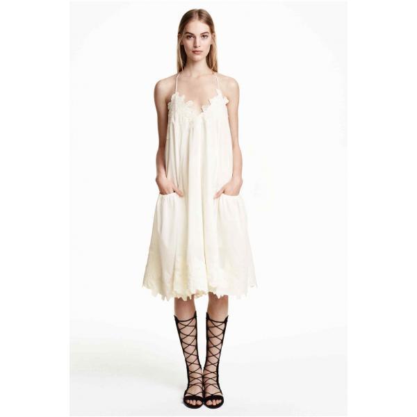 3837a032df H M Szeroka sukienka z bawełny 0334243001 Biały - UbierzmySie.pl