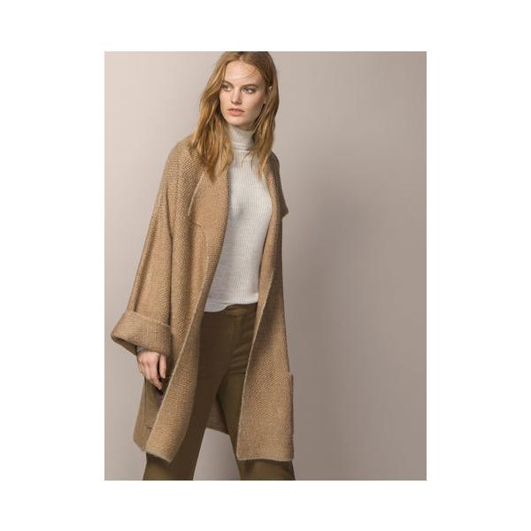 ZARA Płaszcz o kimonowym kroju dwurzędowy camel S