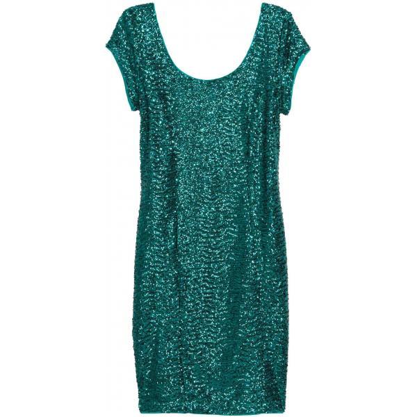 9391935df4 H M Cekinowa sukienka 0336511005 Zielony - UbierzmySie.pl