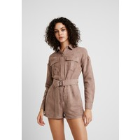 Missguided UTILITY BELTED PLAYSUIT Kombinezon brown M0Q21T07S