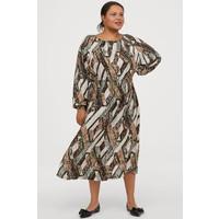 H&M H&M+ Sukienka z marszczeniem 0819082004 Ciemnoziel./Wzór wężowej skóry