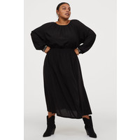 H&M H&M+ Sukienka z marszczeniem 0819082004 Czarny/Koraliki
