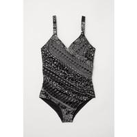 H&M H&M+ Kostium kąpielowy 0551379007 Czarny/Paisley