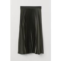 H&M Plisowana spódnica 0652731048 Ciemnozielony