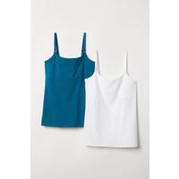 H&M MAMA Top dla karmiącej 2-pak 0534164030 Biały/Turkusowy