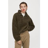 H&M Pluszowa bluza z suwakiem 0820613002 Ciemna zieleń khaki