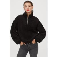 H&M Pluszowa bluza z suwakiem 0820613002 Czarny