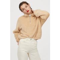 H&M Pluszowa bluza z suwakiem 0820613002 Jasnobeżowy