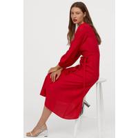 H&M Kopertowa sukienka w serek 0763468002 Czerwony
