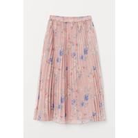 H&M Plisowana spódnica 0719523005 Pudroworóżowy/Kwiaty
