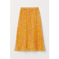 H&M Plisowana spódnica 0719523003 Musztardowożółty/Kwiaty