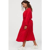 H&M H&M+ Sukienka z marszczeniem 0819082004 Jaskrawoczerwony