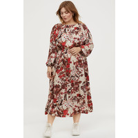 H&M H&M+ Sukienka z marszczeniem 0819082004 Jasnobeżowy/Kwiaty