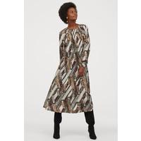 H&M Sukienka z marszczeniem 0812683003 Jasnobeżowy/Wzór wężowej skóry