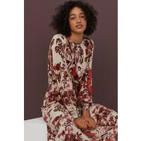 H&M Sukienka z marszczeniem 0812683003 Jasnobeżowy/Kwiaty