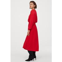 H&M Sukienka z marszczeniem 0812683003 Jaskrawoczerwony