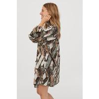 H&M Sukienka z marszczeniem 0806261001 Brązowy/Wzór wężowej skóry