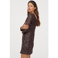 H&M Sukienka z cekinami 0827349002 Czarny/Czerwony
