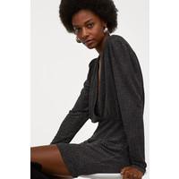 H&M Brokatowa sukienka 0839674001 Czarny/Brokat