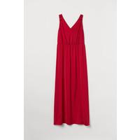 H&M H&M+ Długa sukienka w serek 0713710002 Czerwony