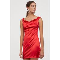 H&M Sukienka z odkrytymi ramionami 0796644001 Czerwony