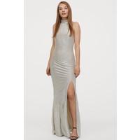H&M Sukienka z mocowaniem na karku 0796652001 Pudrowobeżowy/Srebrzysty