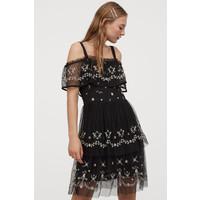 H&M Sukienka cold shoulder 0795777001 Czarny/Kwiaty