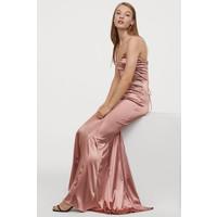H&M Długa sukienka w serek 0796646001 Bladoróżowy