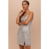 H&M Błyszcząca sukienka 0796638001 Jasnobeżowy/Srebrzysty
