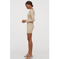 H&M Sukienka bodycon z ćwiekami 0796631001 Beżowy