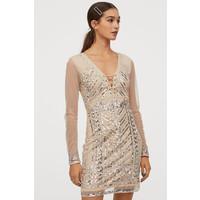 H&M Sukienka z cekinami 0796599001 Jasnobeżowy/Srebrzysty