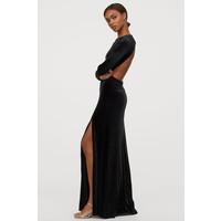 H&M Długa sukienka welurowa 0796673001 Czarny