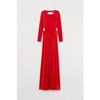 H&M Długa sukienka welurowa 0796673001 Czerwony