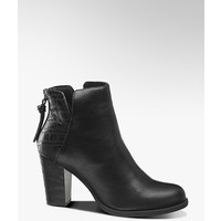 czarne botki damskie Catwalk na masywnym obcasie i z motywem