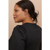 H&M H&M+ Top z bufiastym rękawem 0845024001 Czarny