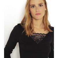 Camaieu T-shirt camaï z długim rękawem i koronkową wstawką 521762_0902E20/0902/TCAMAIFANCY ML