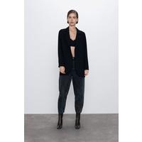 Zara SPODNIE JEANSOWE ZW PREMIUM PETIT ACID BLACK Czarny 2553/041