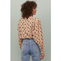 H&M Bluzka z kimonowym rękawem 0817150002 Beżowy/Czarne kropki