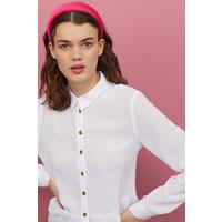 H&M Bluzka z plumeti z falbaną 0827959001 Biały