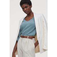 H&M Bluzka z falistymi brzegami 0835417002 Bladozielony