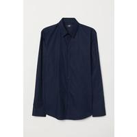 H&M Koszula Slim Fit 0673539004 Ciemnoniebieski