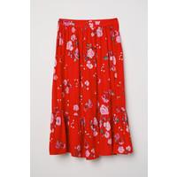 H&M Wzorzysta spódnica z falbaną 0640666001 Jaskrawoczerwony/Kwiaty