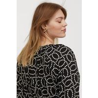 H&M H&M+ Sukienka z marszczeniem 0819082003 Czarny/Biały wzór