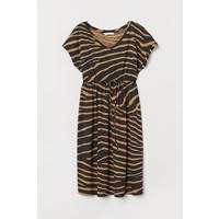 H&M MAMA Sukienka z bawełną 0782859001 Ciemnobeżowy/Zeberka