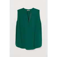 H&M H&M+ Bluzka z dekoltem w serek 0784192001 Ciemnozielony