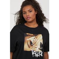 H&M H&M+ T-shirt z nadrukiem 0820260001 Czarny/Ariana Grande