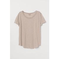 H&M H&M+ T-shirt z modalem 0659132017 Biały/Beżowe paski